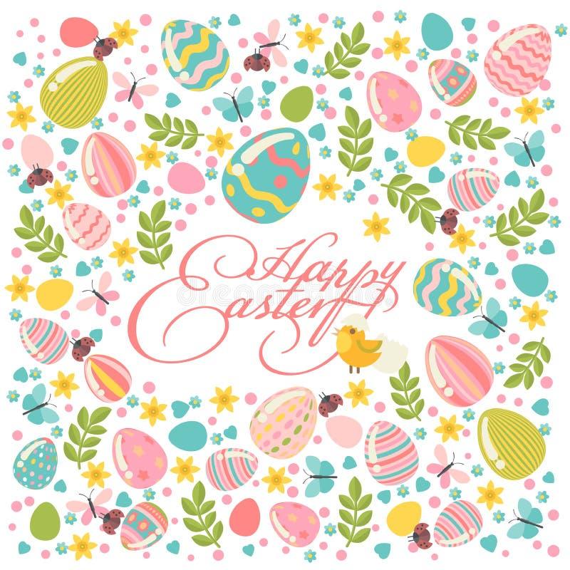 La cartolina d'auguri felice di Pasqua nei colori pastelli con la corona variopinta eggs illustrazione vettoriale