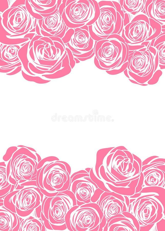 La cartolina d'auguri felice di rosa del giorno del ` s della madre con i fiori rosa incornicia il confine illustrazione vettoriale