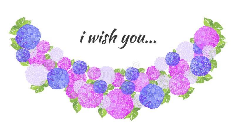 La cartolina d'auguri floreale d'annata dell'estate con l'ortensia ed il giardino di fioritura fiorisce illustrazione di stock