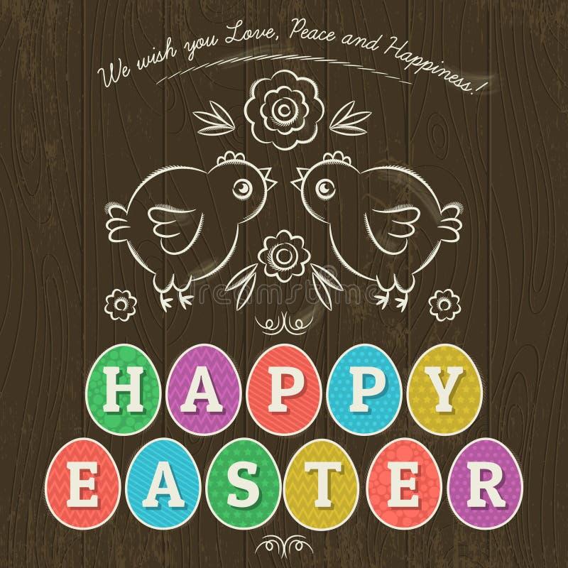 La cartolina d'auguri per il giorno di Pasqua con undici ha colorato le uova, vettore illustrazione di stock