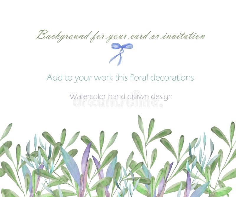 La cartolina del modello con il verde dell'acquerello si ramifica e piante, disegnate a mano su un fondo bianco, cartolina d'augu illustrazione vettoriale