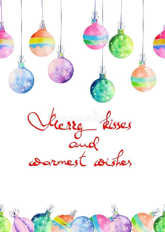 La cartolina, la cartolina d'auguri o l'invito con l'acquerello hanno colorato le palle di Natale immagine stock libera da diritti