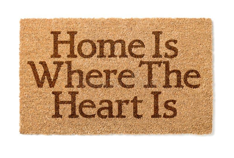 La casa è dove il cuore è Mat On White benvenuto immagine stock