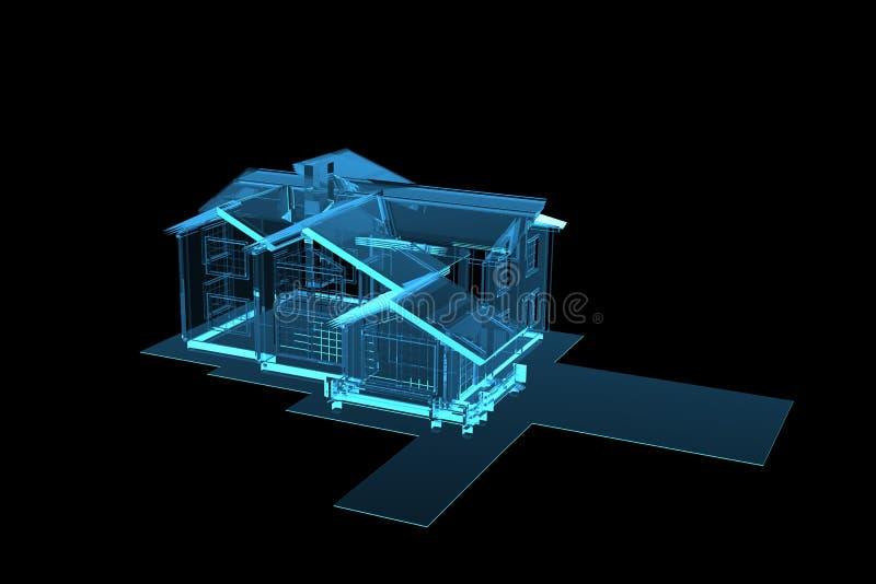 La casa 3D hizo la radiografía azul stock de ilustración