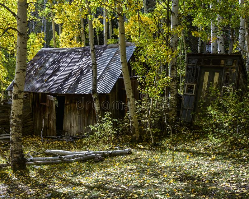 La casa abbandonata storica nascosta con fuori alloggia dai selvaggi West nella caduta immagine stock