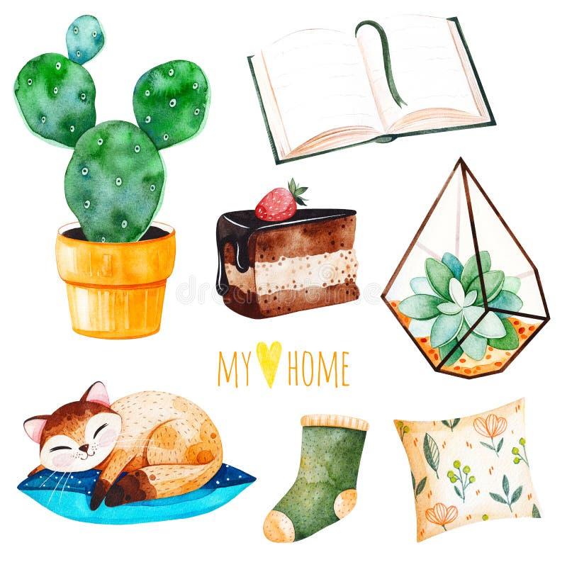 La casa accogliente ha messo con le piante di una casa, gattino sveglio di sonno, prenota, dolce saporito, cuscino royalty illustrazione gratis
