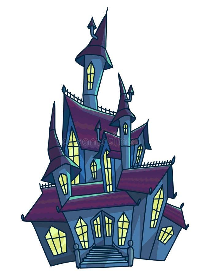 La casa asustadiza vieja con el cono cubre el ejemplo aislado stock de ilustración