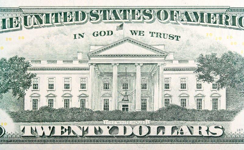 La Casa Bianca sulla banconota in dollari venti immagine stock