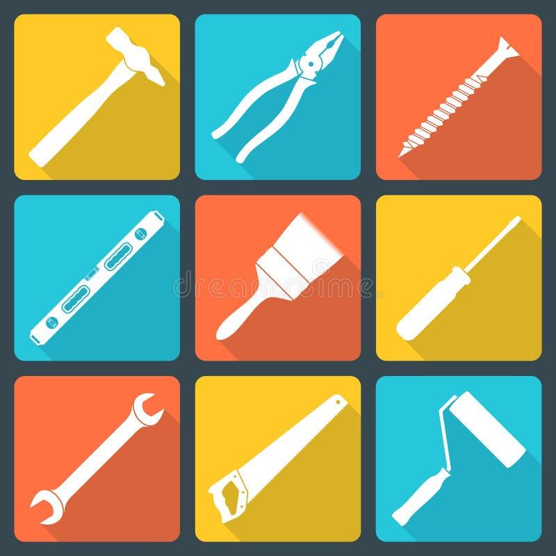 La casa blanca plana remodela iconos de las herramientas libre illustration
