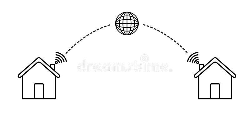 La casa collega l'icona di wifi del globo Casa astuta royalty illustrazione gratis