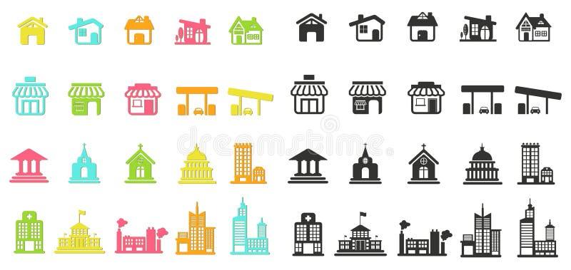 La casa colorida de la silueta, la iglesia, la tienda, el edificio, y el otro pub stock de ilustración