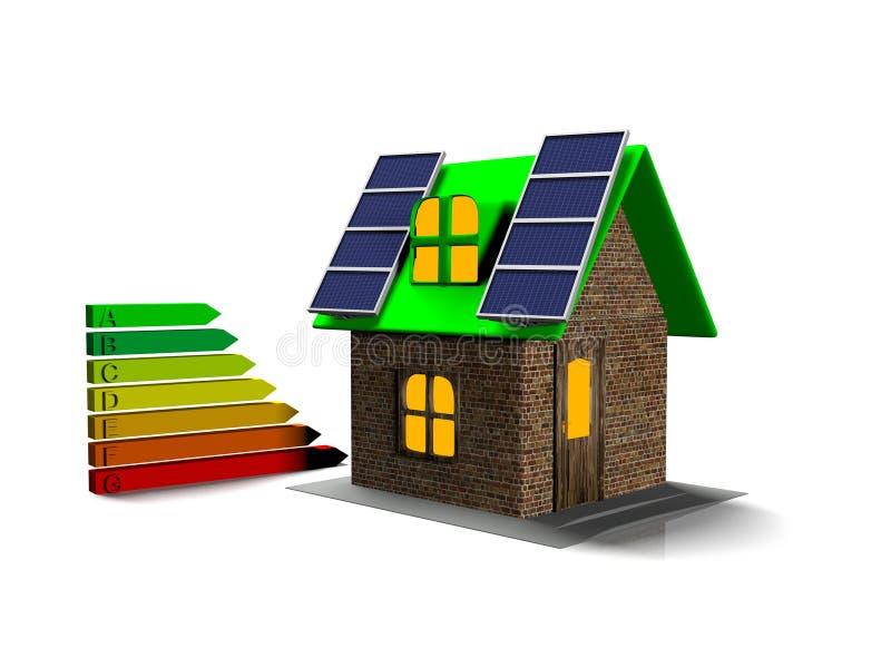 La casa con los paneles solares, 3d rinde stock de ilustración