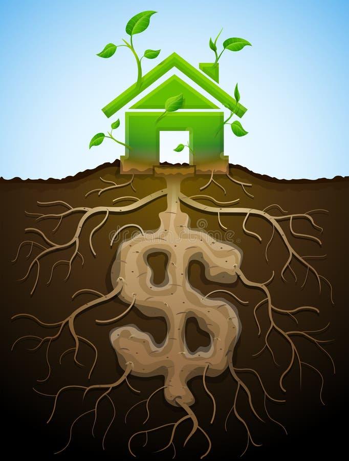 La casa creciente firma como la planta con las hojas y el dólar como raíz ilustración del vector