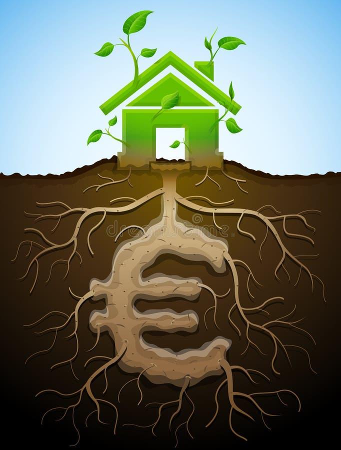 La casa creciente firma como la planta con las hojas y euro como raíz ilustración del vector