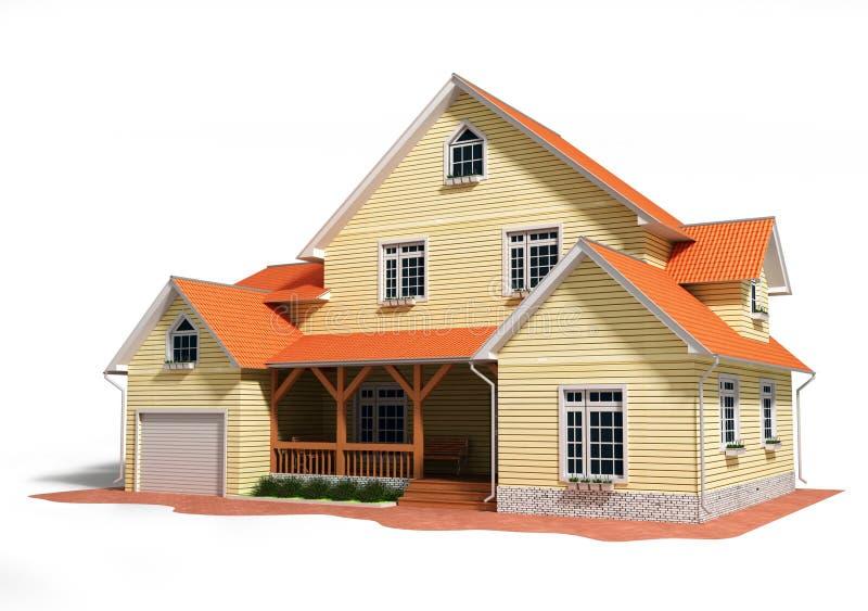 Progetto della casa 3d isolato su bianco illustrazione di for Progetto 3d casa