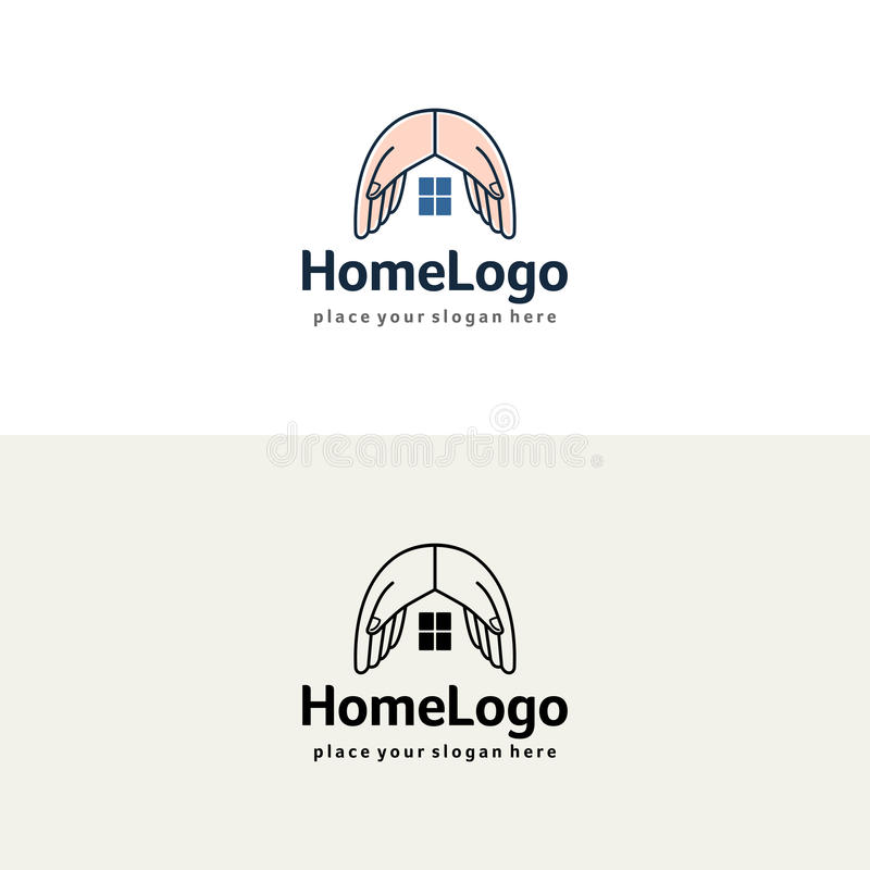 La casa da el logotipo Plantilla del seguro o del vector de las propiedades inmobiliarias stock de ilustración