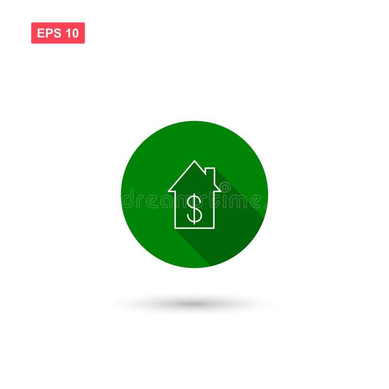 La casa de alquiler con vector del icono del dólar aisló 2 libre illustration