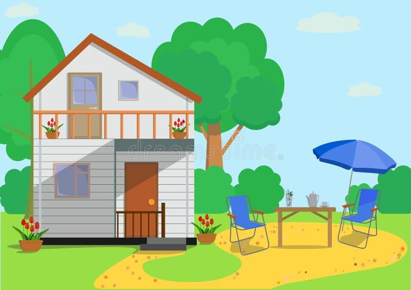 La casa de campo plana colorida con el jardín se opone en estilo plano Ilustración del vector libre illustration