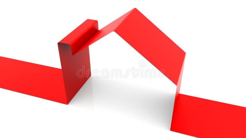 La casa de la cinta en el fondo blanco, 3d rinde el baackdrop, generado por ordenador, símbolo de la familia feliz libre illustration
