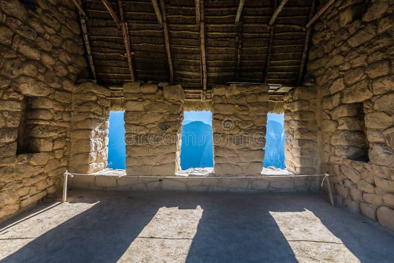 La casa de los guardas Machu Picchu arruina los Andes peruanos Cuzco P fotos de archivo libres de regalías