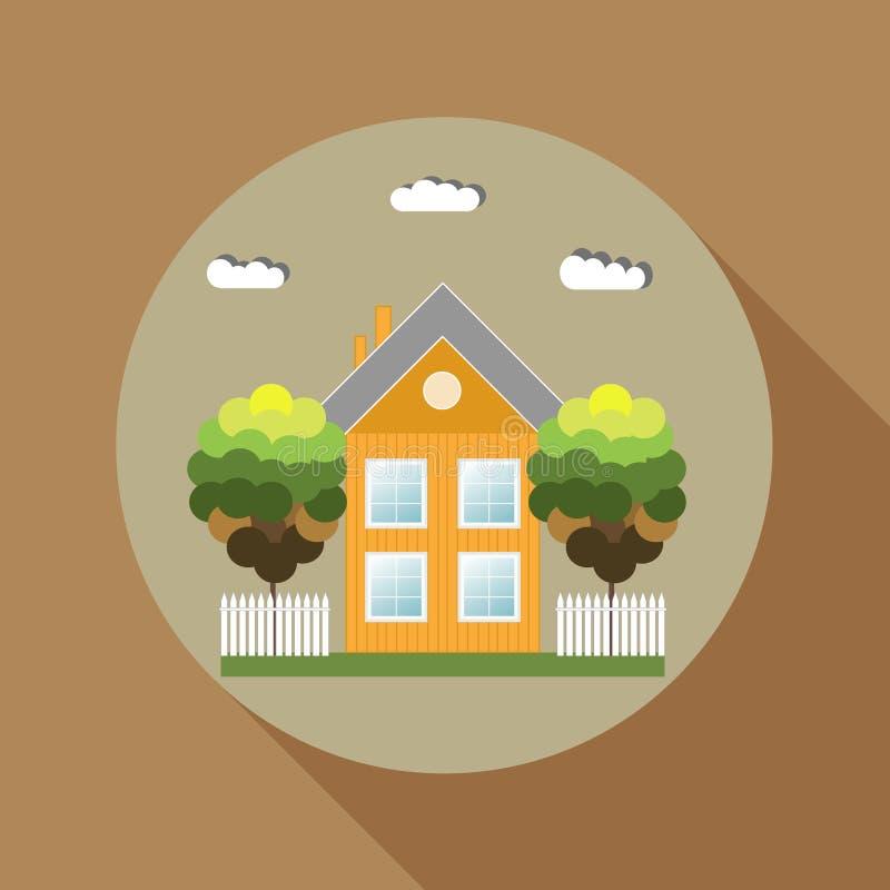 La casa de madera colorida, piensa concepto verde Tema del otoño stock de ilustración