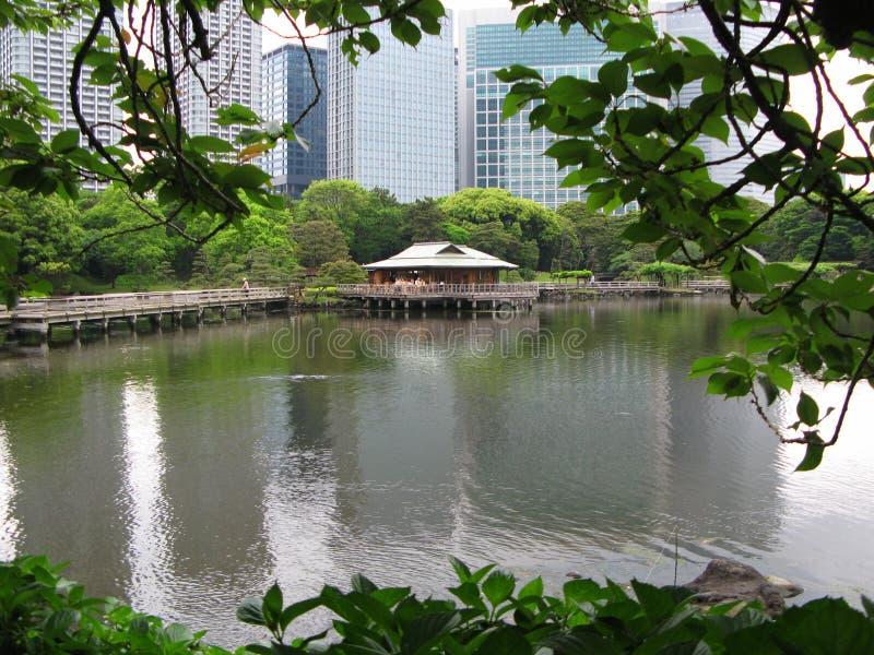 La casa de té tradicional en la orilla de la charca en los jardines de Hamarikyu en el fondo de rascacielos modernos en Tokio, Ja fotos de archivo libres de regalías