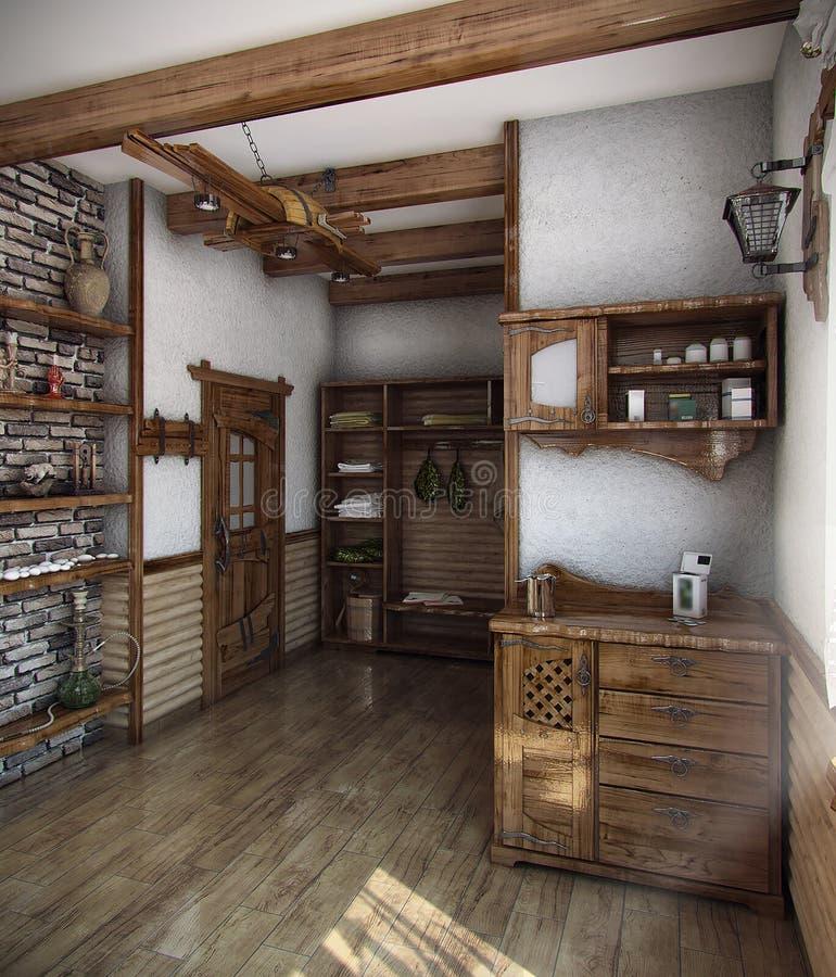 La casa del baño del estilo rural, 3D rinde stock de ilustración