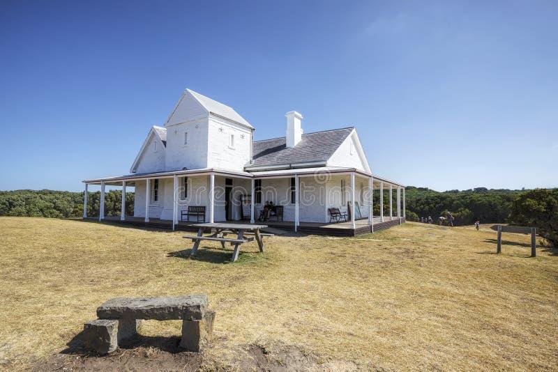 La casa del encargado ligero de Otway del cabo, gran camino del océano, Australia fotografía de archivo libre de regalías