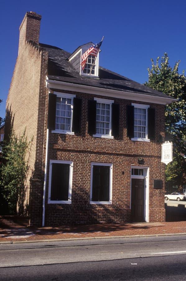 La casa della bandiera dell'insegna a stelle e strisce, Baltimora, MD fotografia stock
