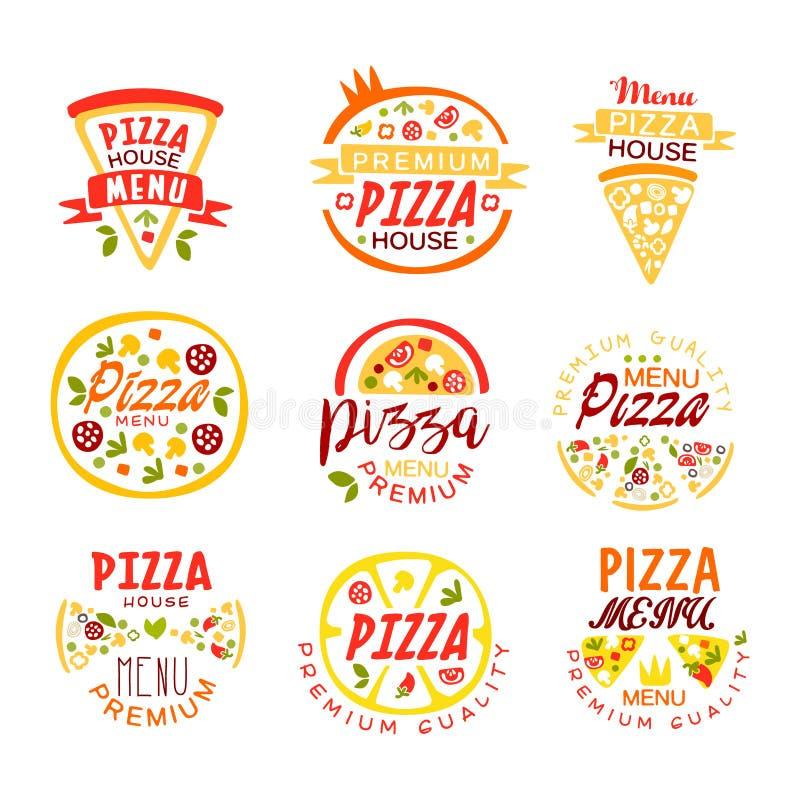 La casa della pizza, modelli premio di logo di qualità del menu ha messo delle illustrazioni variopinte di vettore royalty illustrazione gratis