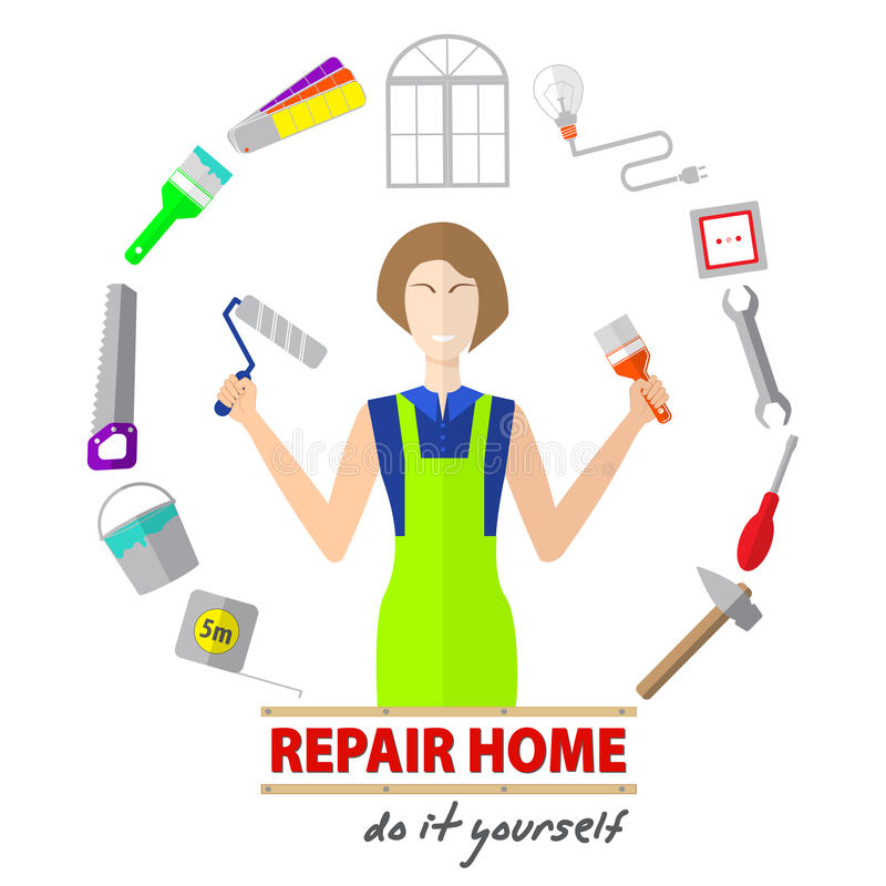La casa di logo ritocca il servizio, strumenti per riparare, progettazione delle insegne con gli strumenti da riparare illustrazione vettoriale