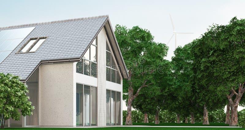La casa ecológica con los paneles solares, 3d rinde el ejemplo ilustración del vector