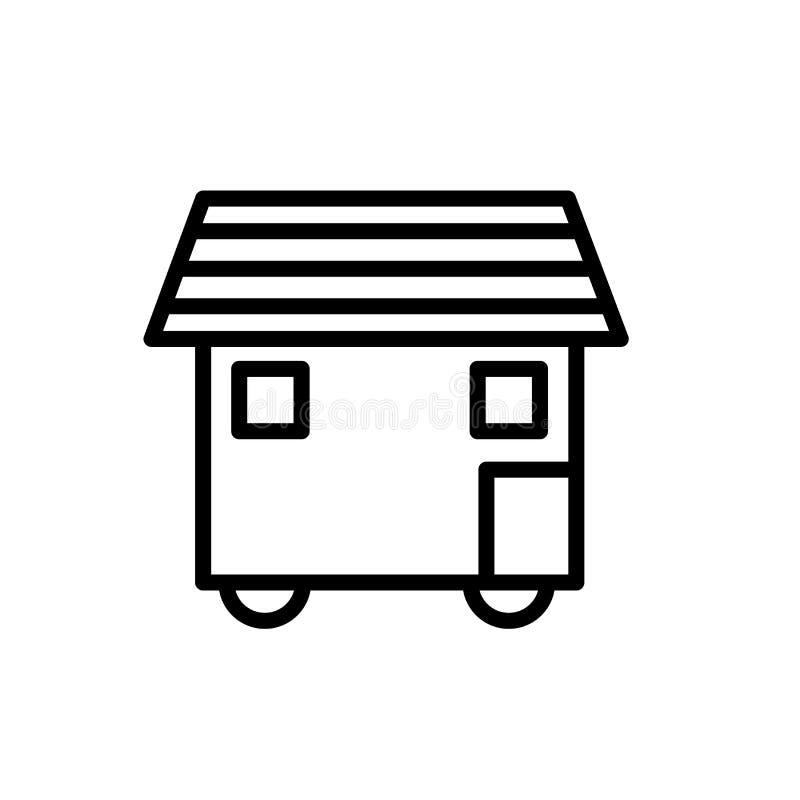La casa en vector del icono de las ruedas aislada en el fondo blanco, casa en las ruedas firma, la línea o la muestra linear, dis stock de ilustración