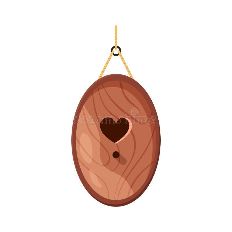 La casa fatta a mano di legno dell'uccello di forma e di cuore ovali ha modellato il foro isolato su fondo bianco Incastramento c royalty illustrazione gratis