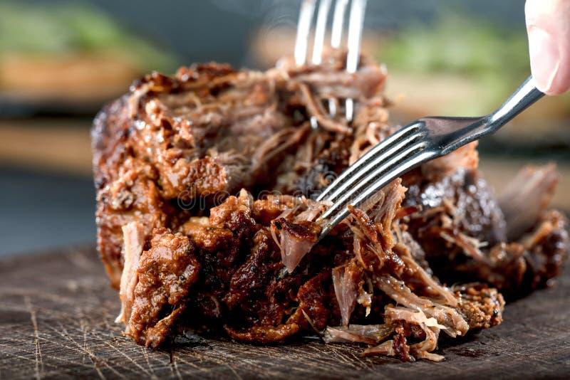 La casa ha preparato la carne di maiale tirata essere mangiato immagini stock libere da diritti