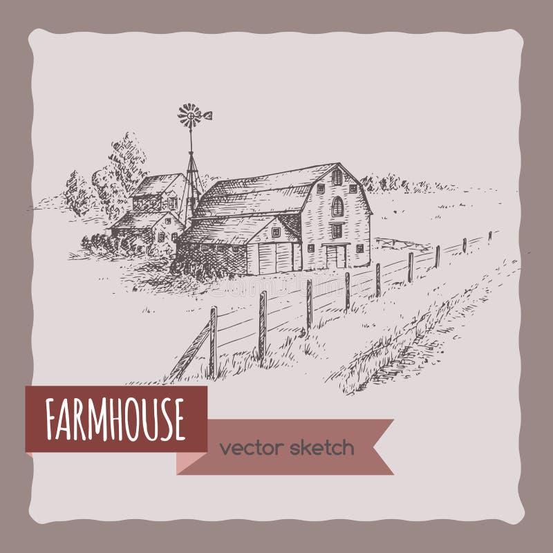 La casa, il granaio ed il pascolo americani dell'azienda agricola vector lo schizzo royalty illustrazione gratis