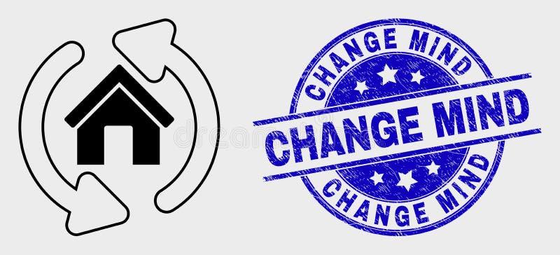 La casa lineare di vettore rinfresca l'icona delle frecce e la filigrana graffiata di mente del cambiamento illustrazione di stock