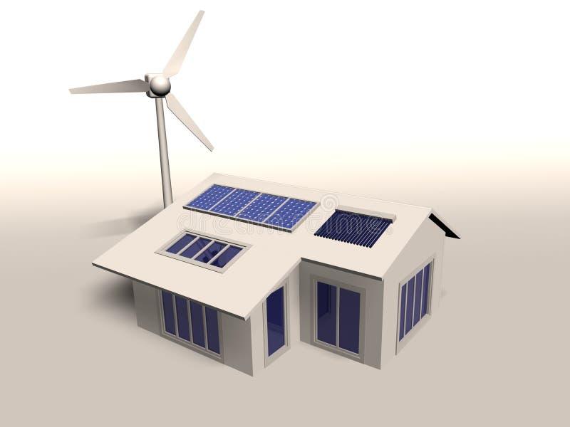La casa moderna della persona neutrale del carbonio illustrazione di stock