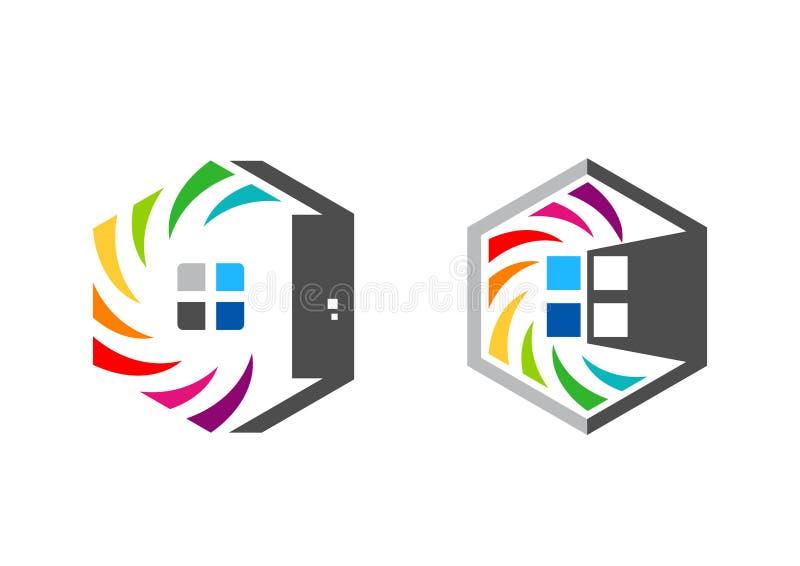 La casa, propiedades inmobiliarias, hexágono, hogar, logotipo, sistema del arco iris colorize diseño del vector del icono del sím ilustración del vector