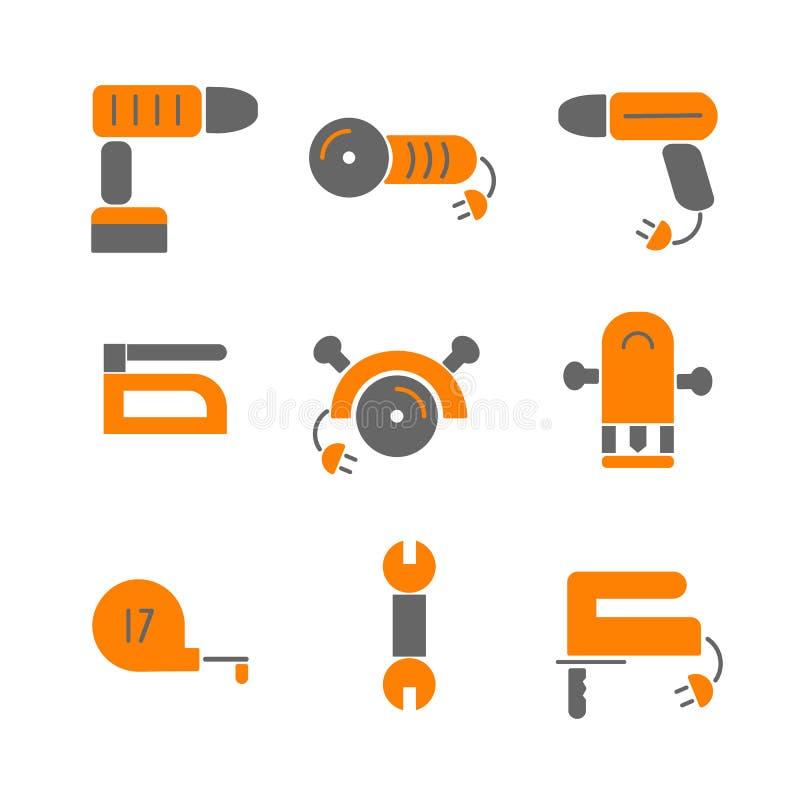 La casa remodela Fije las herramientas de los iconos de la renovación de la casa stock de ilustración