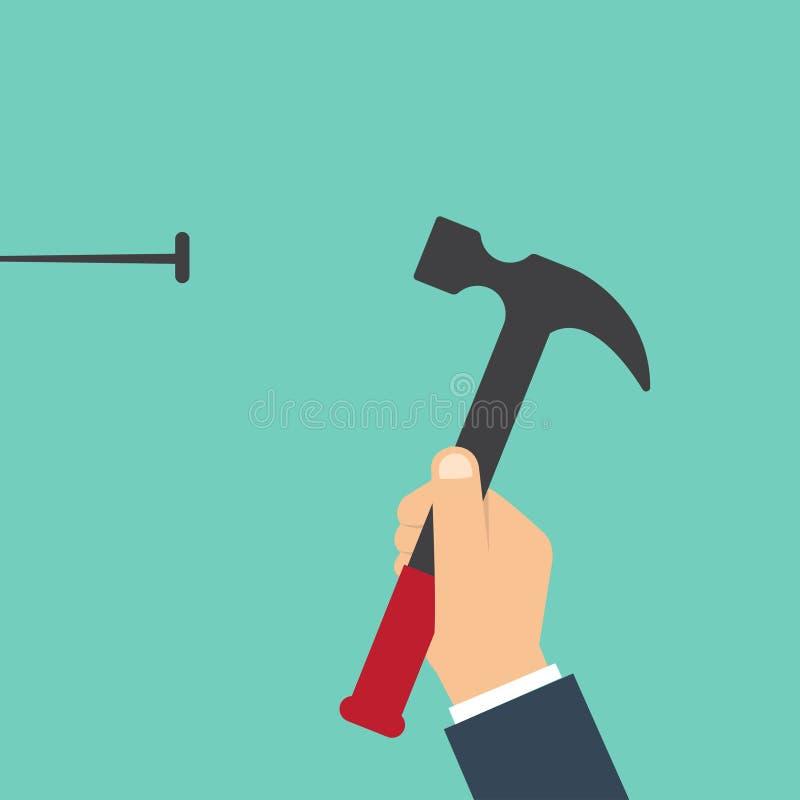 La casa ripara il concetto Equipaggi i martelli un chiodo in una parete Lavori di costruzione del modello Giudicando un martello  royalty illustrazione gratis