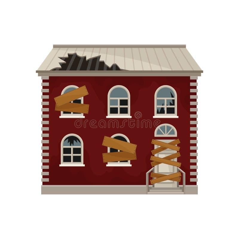 La casa roja vieja con el tejado quebrado y subió encima de ventanas y de puerta Edificio de dos pisos Hogar abandonado grande Ve stock de ilustración