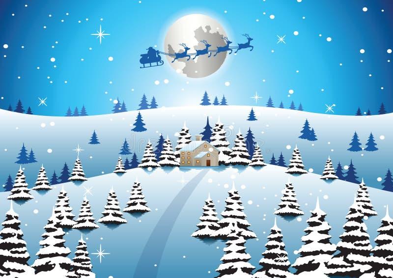 La casa sola el noche de Navidad y santa se van volando para enviar el regalo al ev ilustración del vector
