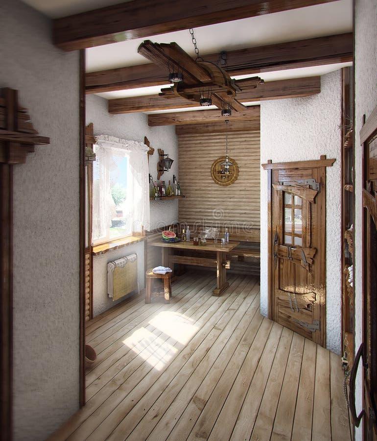 La casa stile country del bagno 3d rende illustrazione di stock illustrazione di - La casa del bagno ...