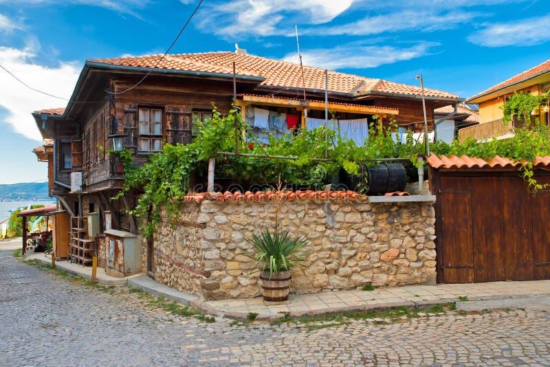 La casa tipica in Nesebr, Bulgaria immagine stock libera da diritti