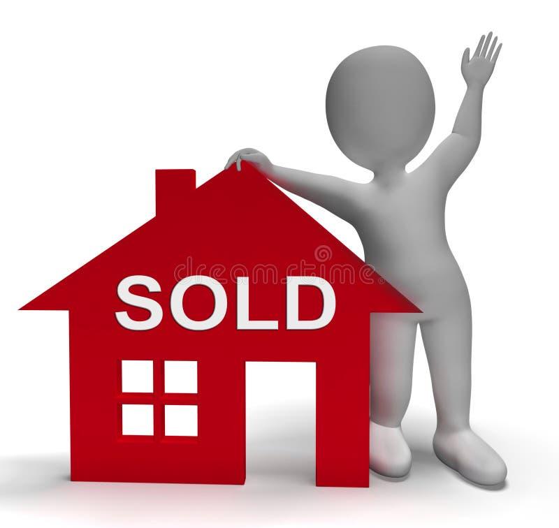 La casa vendida significa oferta acertada en Real Estate ilustración del vector