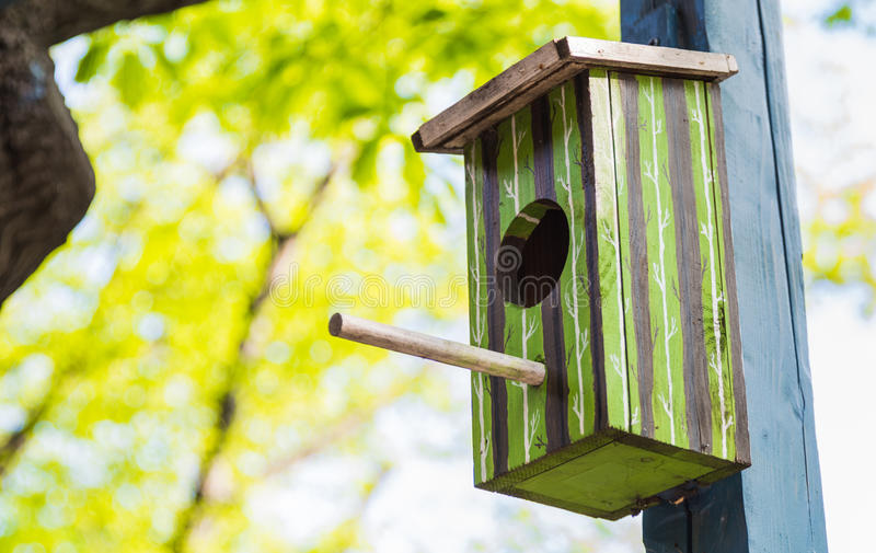 La casa verde del pájaro colgó afuera fotografía de archivo