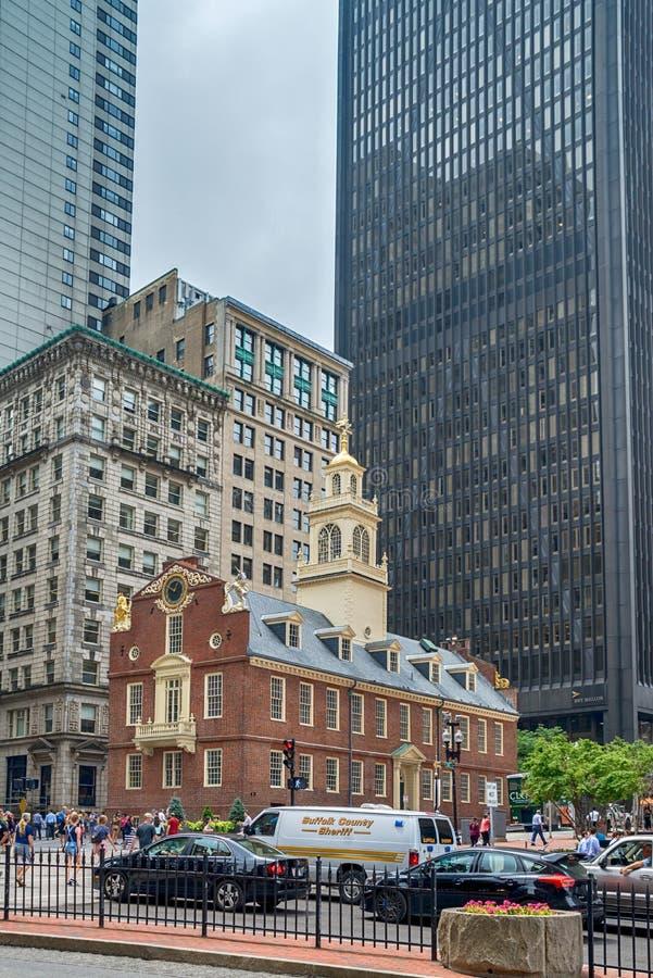 La casa vieja del estado en la ciudad de Boston en los Estados Unidos imágenes de archivo libres de regalías