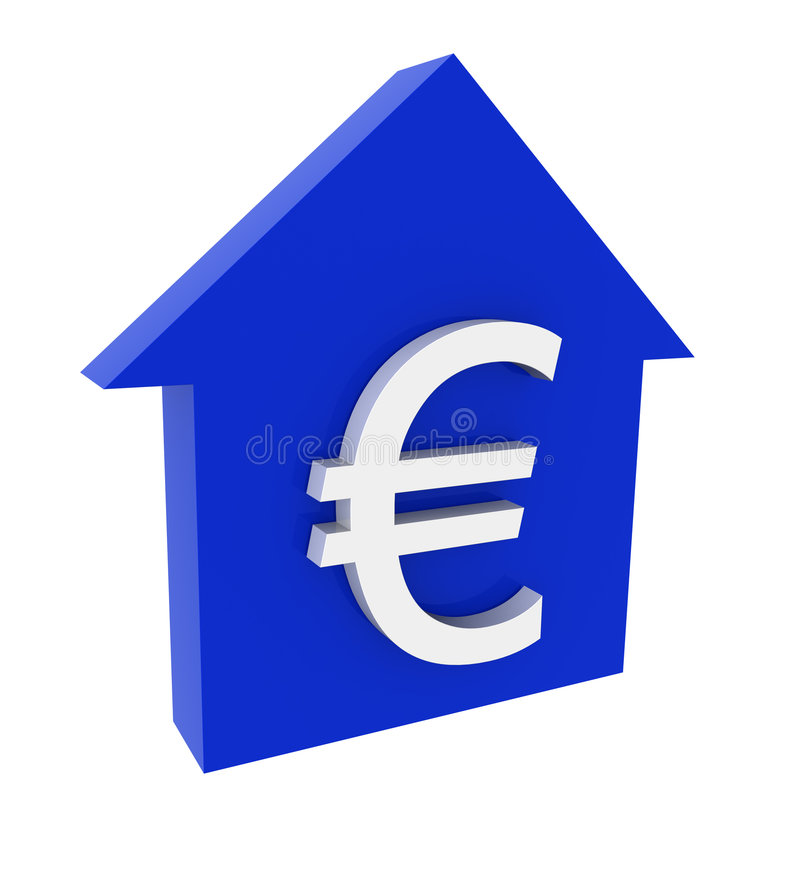 La casa y la marca del euro stock de ilustración