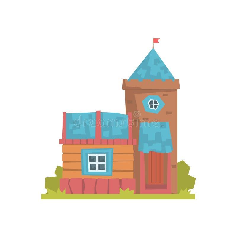 La casa y la piedra de madera viejas se elevan, ejemplo antiguo del vector del edificio de la arquitectura libre illustration